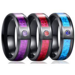 *COI Black Titanium Carbon Fiber Beveled Edges Ring With Cubic Zirconia-6883BB