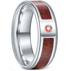 *COI Titanium Wood Beveled Edges Ring With Cubic Zirconia-6885BB