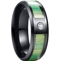 *COI Black Titanium Wood Beveled Edges Ring With Cubic Zirconia-6887BB