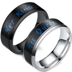 *COI Titanium His Queen Her King Beveled Edges Ring-6888BB