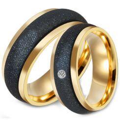 *COI Titanium Black Gold Tone Sandblasted Ring-6889BB