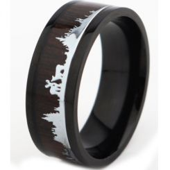 *COI Titanium Black/Rose Hunting Scene Pipe Cut Flat Ring With Wood-6891BB