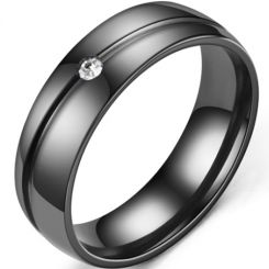 *COI Black Titanium Groove Dome Court Ring With Cubic Zirconia-6893AA
