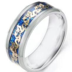 *COI Titanium Blue Gold Tone Dragon Beveled Edges Ring With Meteorite-6894