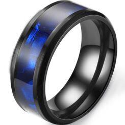 *COI Black Titanium Abalone Shell Beveled Edges Ring-6896AA