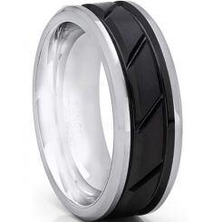 *COI Titanium Black Silver Diagonal Grooves Ring-6897AA