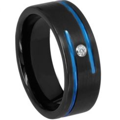 *COI Titanium Black Blue Double Grooves Ring With Cubic Zirconia-6898AA