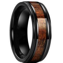 *COI Black Titanium Milgrain Step Edges Ring With Wood-6899AA