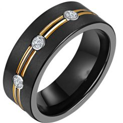 *COI Titanium Black Gold Tone Double Grooves Ring With Cubic Zirconia-6901AA