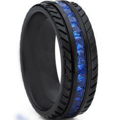 *COI Black Titanium Tire Tread Ring With Created Blue Sapphire-6903AA