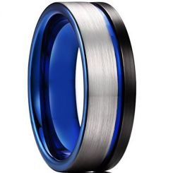 *COI Titanium Black Blue Offset Grooves Pipe Cut Flat Ring-6904AA