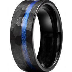 *COI Black Titanium Hammered Ring With Meteorite-6905AA