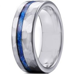 *COI Titanium Hammered Ring With Meteorite-6906AA