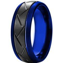 *COI Titanium Black Blue Tire Tread Double Grooves Ring-6908AA