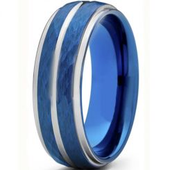 *COI Titanium Blue Silver Hammered Sandblasted Center Groove Ring-6909AA