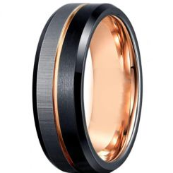 *COI Titanium Black Rose Center Grooves Beveled Edges Ring-6910AA