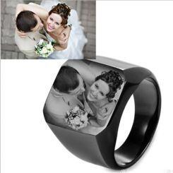 **COI Titanium Black/Silver/Blue/Gold Tone Signet Ring With Photo Engraving-6913BB