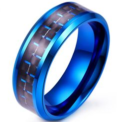**COI Blue Titanium Beveled Edges Ring With Black Blue/Green/Red Carbon Fiber -6917AA