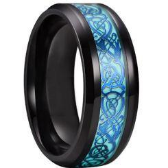**COI Black Titanium Beveled Edges Ring With Blue Dragon-6918AA