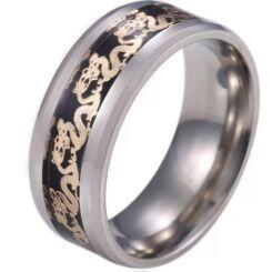 **COI Titanium Beveled Edges Ring With Dragon-6919AA
