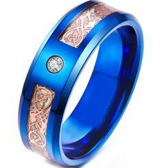 **COI Blue Titanium Luminous Dragon Beveled Edges Ring With Cubic Zirconia-6920AA