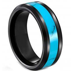 **COI Black Titanium Turquoise Beveled Edges Ring-6921AA
