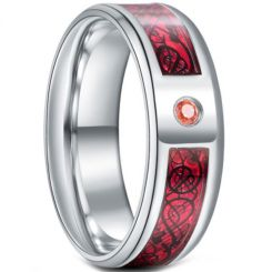 **COI Titanium Dragon Beveled Edges Ring With Created Pink Red Sapphire-6923AA