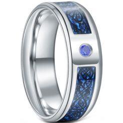**COI Titanium Dragon Beveled Edges Ring With Created Blue Sapphire-6924AA