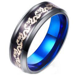 **COI Titanium Black Blue Dragon Beveled Edges Ring-6925AA