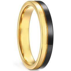**COI Titanium Black Gold Tone Center Groove Pipe Cut Flat Ring-6926AA
