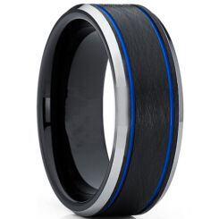 **COI Titanium Black Blue Double Grooves Beveled Edges Ring-6931AA