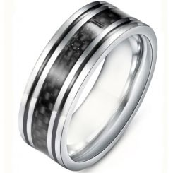 **COI Titanium Black Silver Double Grooves Ring With Carbon Fiber-6934AA