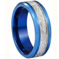 **COI Blue Titanium Beveled Edges Ring With Meteorite-6936AA