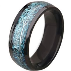 **COI Black Titanium Meteorite Dome Court Ring With Arrows-6938AA