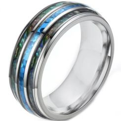 **COI Titanium Dome Court Ring With Abalone Shell-6939AA