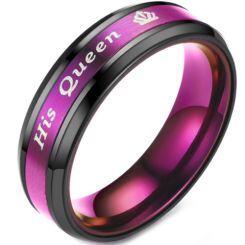 **COI Titanium Black Purple His Queen & Crown Beveled Edges Ring-6940AA