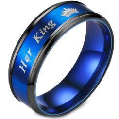 **COI Titanium Black Blue Her King & Crown Beveled Edges Ring-6941AA