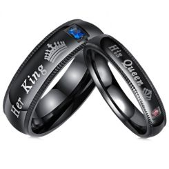**COI Black Titanium His Queen/Her King & Crown Ring With Cubic Zirconia-6942AA