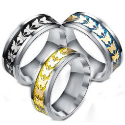 **COI Titanium Black/Gold Tone/Blue Silver Butterfly Beveled Edges Ring-6944AA