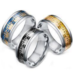 **COI Titanium Black/Gold Tone/Blue Silver King Crown Beveled Edges Ring-6945AA