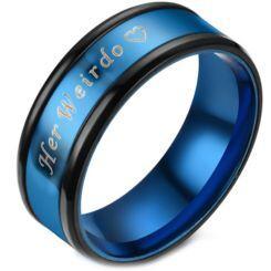**COI Titanium Black Blue Her Weirdo & Heart Beveled Edges Ring-6946AA