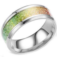 **COI Titanium Rainbow Pride Meteorite Beveled Edges Ring-6949AA