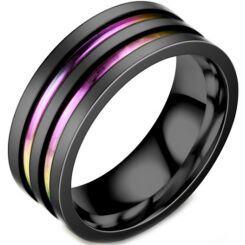 **COI Black Titanium Rainbow Pride Double Grooves Ring-6950AA
