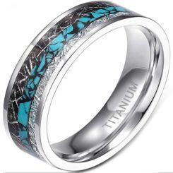 **COI Titanium Turquoise & Meteorite Pipe Cut Flat Ring-6952AA