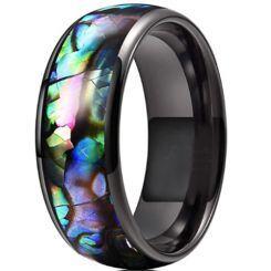 **COI Black Titanium Abalone Shell Dome Court Ring-6959BB