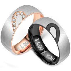 **COI Titanium Black/Rose Silver Heart Ring-6961AA