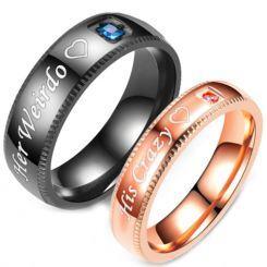 **COI Titanium Black/Rose Her Weirdo/His Crazy Ring With Cubic Zirconia-6964AA