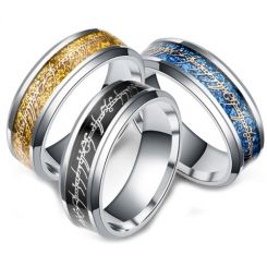 **COI Titanium Black/Gold Tone/Blue Silver Lord of The Ring Beveled Edges Ring-6966AA