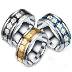 **COI Titanium Black/Gold Tone/Blue Silver Clover Floral Pattern Beveled Edges Ring-6968AA