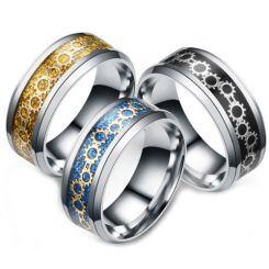 **COI Titanium Black/Gold Tone/Blue Silver Gears Beveled Edges Ring-6971AA